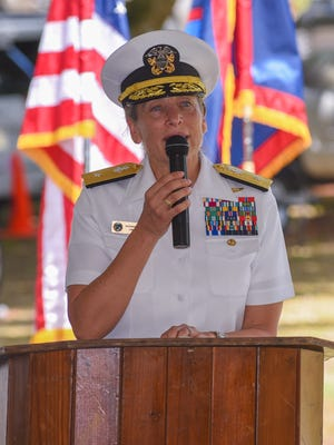 Rear Adm. Shoshana Chatfield delivers her keynote speech during a memorial service at the Chagui'an massacre site in Yigo on Tuesday, Aug. 8, 2017. During the recapture of the northern part of Guam by American soldiers from Japanese Imperial armed forces in World War II, U.S. Marines discovered a Japanese truck loaded with the bodies of decapitated Chamorro men. A further search of the area after the gruesome discovery, resulted in the finding 21 men, remaining in a kneeling position with their hands bound behind their backs and all beheaded. A Mass and ceremony was held to remember the 45 victims of the tragic massacre.