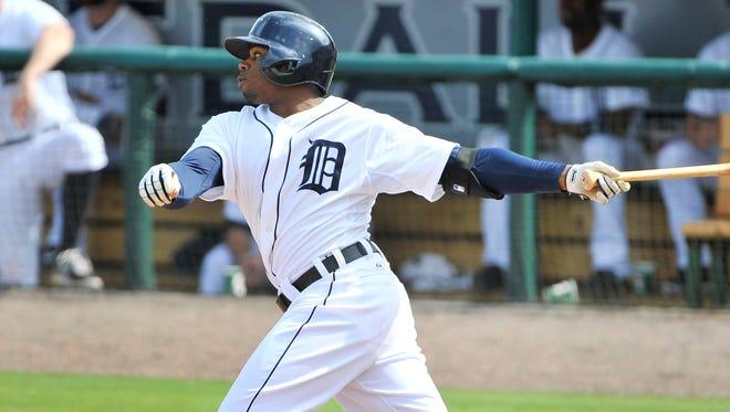 The Tigers' Rajai Davis hit .282 and stole 36 bases last season.