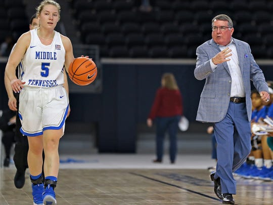 MTSU guard Abbey Sissom takes the ball up the floor as coach Rick Insell calls a play during their game against Rice in the quarterfinal round of the Conference USA Tournament at the Ford Center in Frisco, Texas on March 8, 2018.
