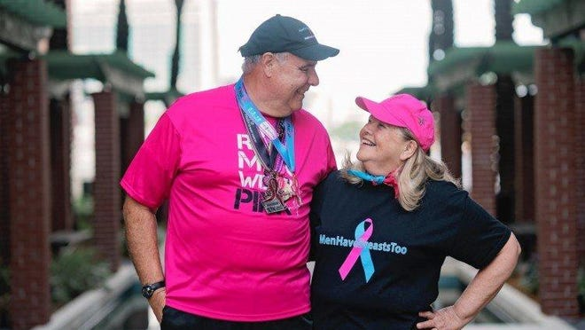 Jim Keegan, 71, will be the relative rarity among runners and walkers -- a male breast cancer survivor. He's traveling to the event all the way from his home in Palm Coast, about 35 miles north of Daytona Beach. He will walk/run the 5K course Saturday.