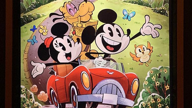 Retro-a-go-go: This poster for the Disney cartoon 'Perfect Picnic' is at the entry to Mickey & Mickey's Runaway Railway at Disney's Hollywood Studios. The mouse couple is headed for a perfect day when Goofy's Runnamuck Railroad gets into some trouble...throwing Mickey, Minnie and riders into the action from many cartoons. Note the orange bird. This is 'Chuuby', pronounced 'chew-bee', a choo-choo charmer who's already a hit with fans.
