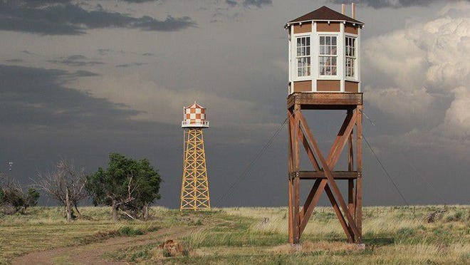 <p>The guard tower still stands at the site of Camp Amache, where U.S. citizens of Japanese descent were housed during World War II. [COURTESY PHOTO/MAX McCOY]</p>