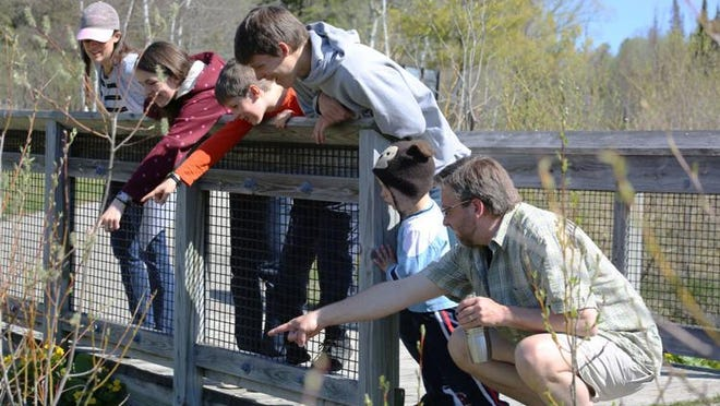 The Brooks family, (from left) Rachel, Marial, Sam, Ben, Gideon and Aaron, spy a waterbug at Oden Fish Hatchery recently.