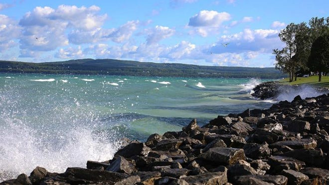 The Little Traverse Bay rushed with waves on a September afternoon, with a steady wind of 15mph.