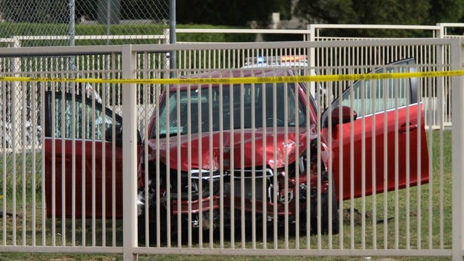 A Chevrolet Cruze crashed onto Abraham Lincoln Elementary School's field on Oct. 23. Adrian Grajeda was hit by flying debris and a portion of his right leg was amputated. The Riverside County District Attorney's Office is pursuing charges against the driver, Malcolm Paterson.