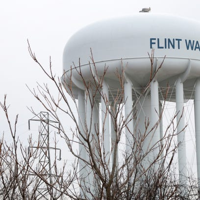 A water tower at the Flint Water Treatment Plant is