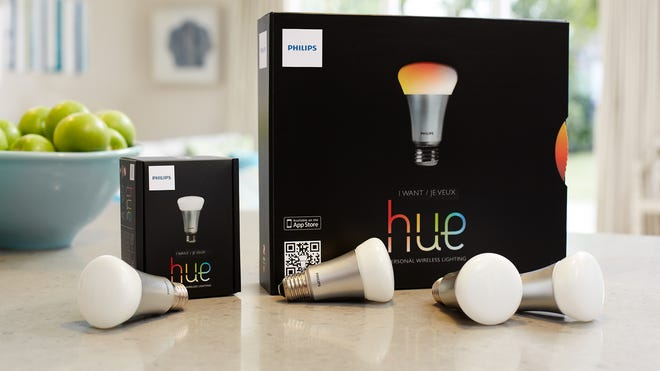 """The Philips """"hue"""" connected light bulbs."""