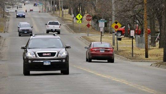 Traffic moves along Second Street toward U.S. Highway 10 through Sauk Rapids.