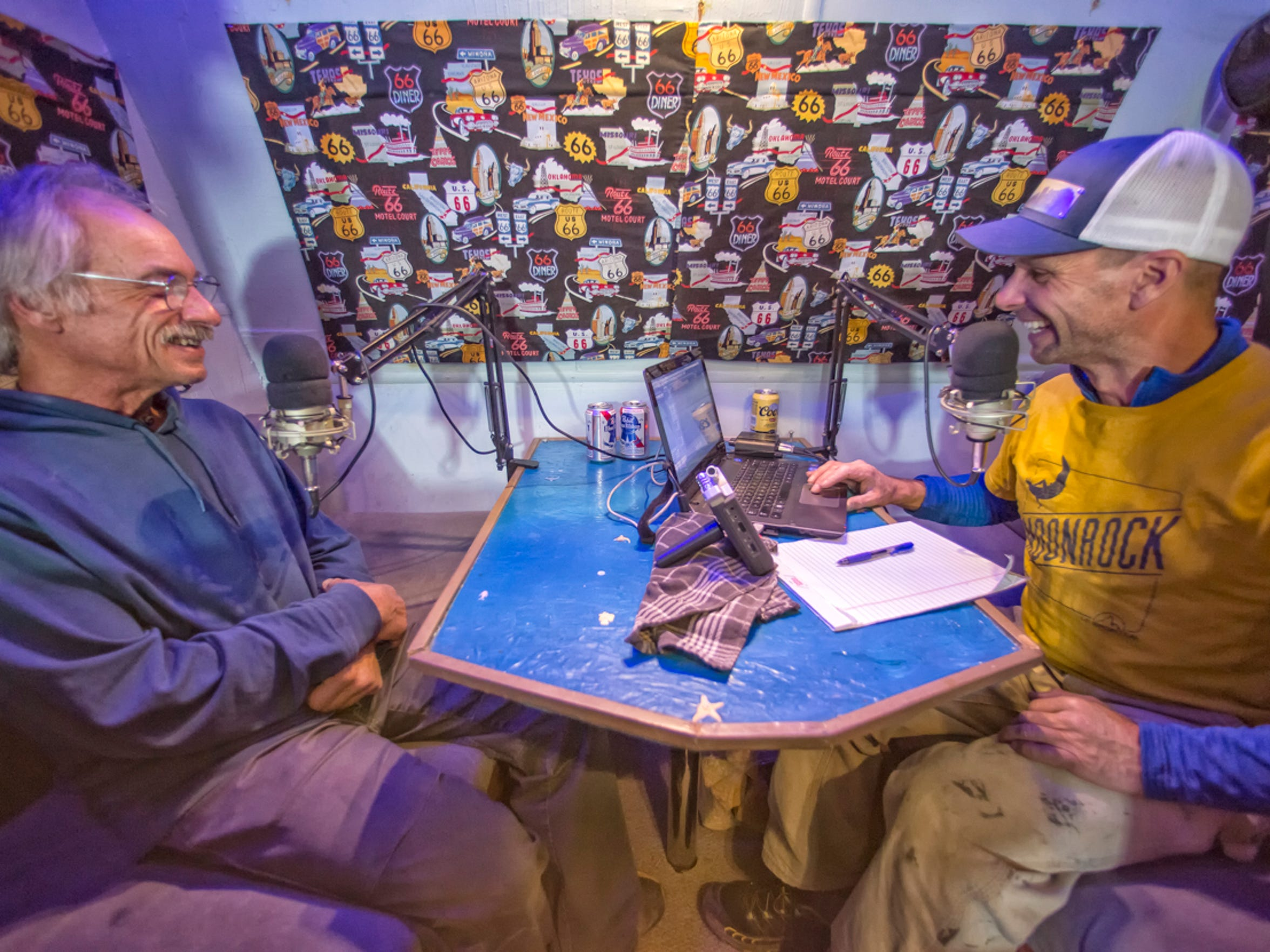 Chris Kalous, host of The Enormocast podcast, interviewing climber Jay Smith in the mobile studio.