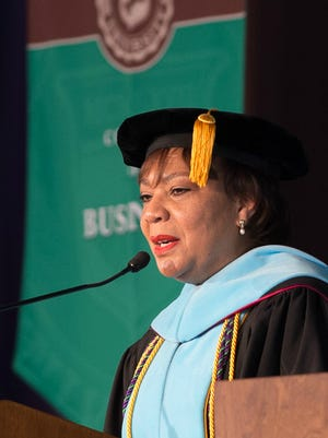 LaVerne Harmon, Ed.D., speaks at Wilmington University commencement ceremony at the William A. Carter Partnership Center at Delaware Technical Community College in Georgetown where 229 graduates took part.