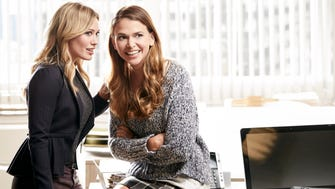 "Hilary Duff, left, as Kelsey and Sutton Foster as Liza star in the new TV Land series ""Younger."""