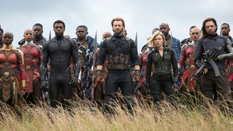 "Okoye (Danai Gurira), from left, Black Panther/T'Challa (Chadwick Boseman), Captain America/Steve Rogers (Chris Evans), Black Widow/Natasha Romanoff (Scarlet Johansson) and Winter Soldier/Bucky Barnes (Sebastian Stan) in a scene from Marvel Studios' ""Avengers: Infinity War."""