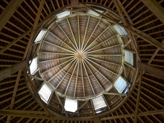 The view from the inside looking up at the cupola of