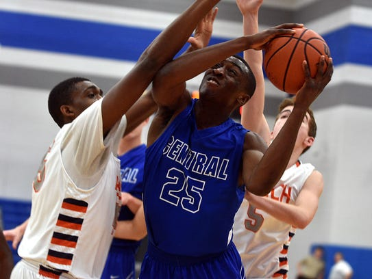 Wilson Central's Kene Aruh attempts an interior shot