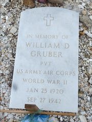 William Gruber's grave marker.