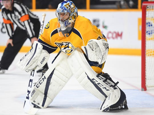Predators goaltender Juuse Saros has made five NHL