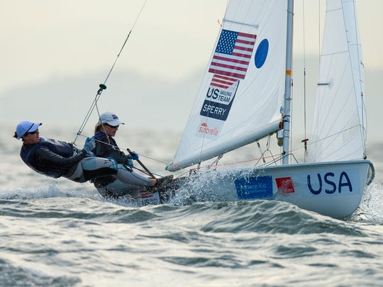 Annie Haeger and Briana Provancha of the United States sail in the 470 class on the Copacabana course during the International Sailing Regatta-Aquece Rio Test Event for Rio 2016 Olympics on Aug. 19, 2015.