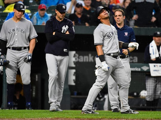 Jun 2, 2018; Baltimore, MD, USA; New York Yankees second