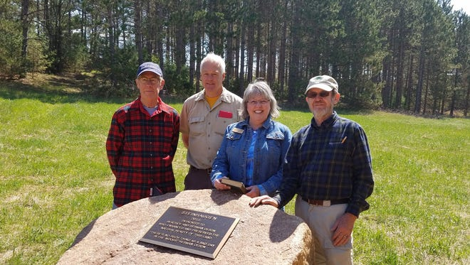 Left to right: Marvin Olson, Parks Director Gary Speckmann, County Executive Patty Dreier, and Dick Olson at Steinhaugen Recreation Area grand openning.