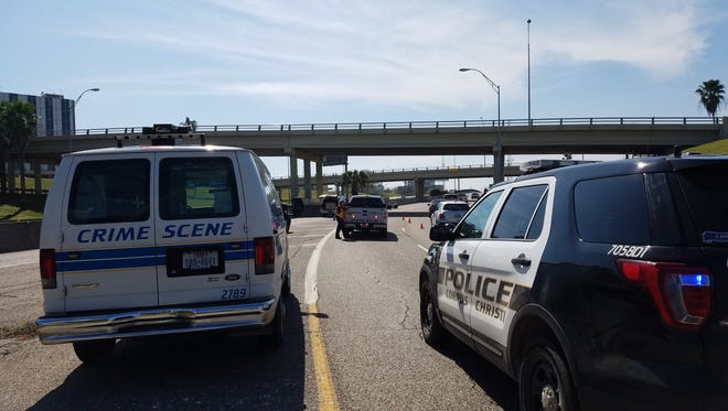 Police are searching for the driver of a cargo van after a hit-and-run with a motorcycle on Interstate 37 northbound.