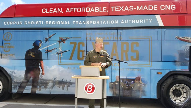 Corpus Christi public transportation officials unveiled a military-themed bus wrap Thursday, March 23, 2017. Capt. Steve Banta said it shows community's support for military.