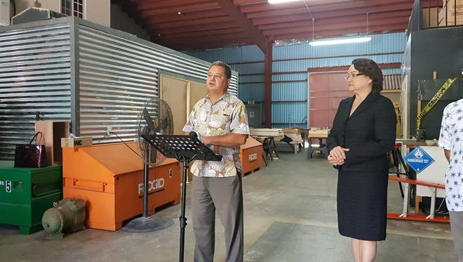 GCA Trades Academy Education Director Bert Johnson speaks about a new facility which will be built in Tiyan during a press conference held at the Barrigada facility on Feb. 19, 2018. Board secretary and Guam Community College President Mary Okada looks on.
