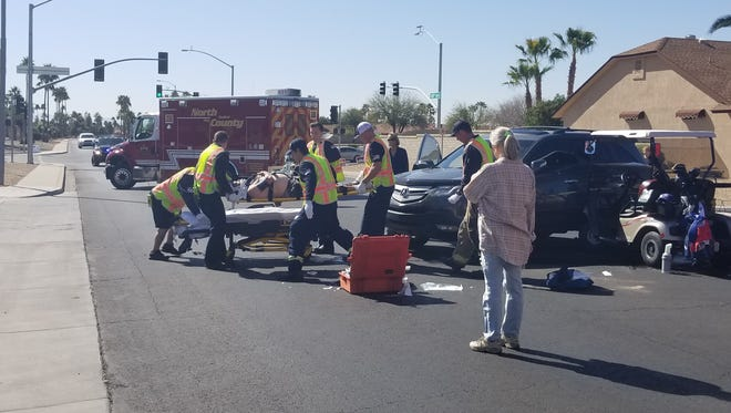 Crash that occurred in Sun City West Monday involving a golf cart and an SUV.