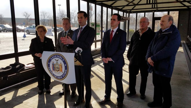 Assemblyman Kenneth Zebrowski, D-New City, speaks at a press conference on the new Lower Hudson Transit Link Bus system on March 16, 2018.