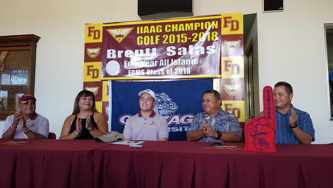 Father Duenas Memorial School senior Brentt Salas signed an agreement to attend Gonzaga University, to play on the school's Division I golf team on April 12, 2018. Salas is joined with his coach Gus Gogue, his mom, Roxy Salas, his dad, Carlos Salas and Guam National Golf Federation President Richard Sablan.
