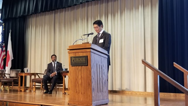Consul-General of Japan in Chicago Naoki Ito spoke at Purdue University on May 2, 2018.