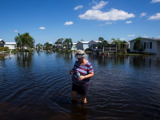 Then: Lana Gruver walks through knee-high water on her street at Citrus Park in Bonita Springs on Wednesday, Sept. 13, 2017, three days after Hurricane Irma.