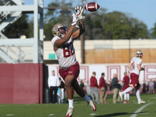FSU's Naseir Upshur catches a pass during spring practice