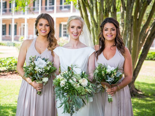 Kathatine Michot with her bridesmaids Micaela Blanchard and Stephanie Wartelle