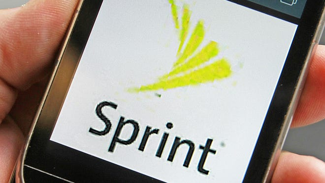 A Sprint logo is displayed on a smart phone .