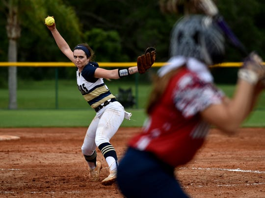 Aucilla Christian pitcher Elizabeth Hightower pitches to Linsey Rohm, of Master's Academy, in the top of the seventh inning of their Class 2A state semifinal game at Historic Dodgertown on Monday, May 21, 2018 in Vero Beach. Aucilla Christian won the game, 4-0.