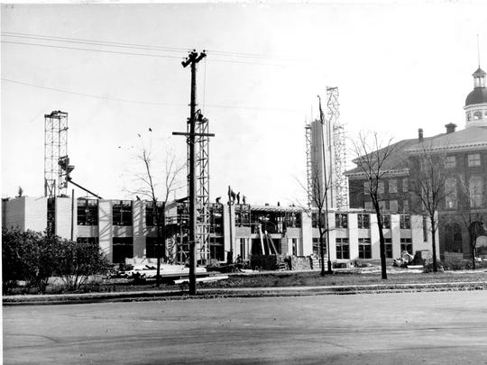 Early construction of the new Lincoln High School building.