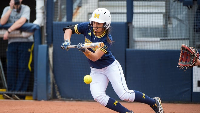 "Michigan's Abby Ramirez, a home-run hitter in high school, has become an accomplished ""slapper"" at the plate but can drive the ball when challenged."