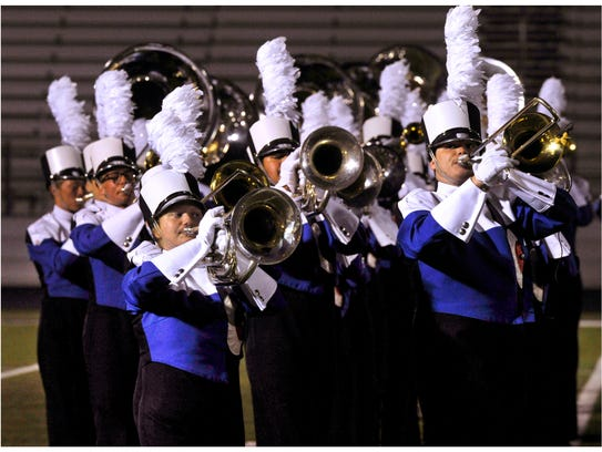 Members of the Cooper High School Awesome Cooper Band perform during Monday's UIL Region 6 East Zone Marching Contest Oct. 23, 2017. On Saturday, Cooper will try to qualify for the state marching contest.