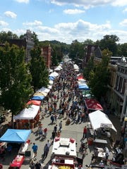 Vendors line the streets of New Harmony's annual Kunstfest