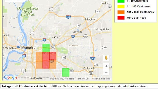 Power outage affects nearly 10,000 in Memphis Friday morning.