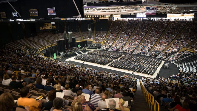The University of Iowa's College of Liberal Arts and Sciences commencement at Carver Hawkeye Arena in Iowa City on Saturday.