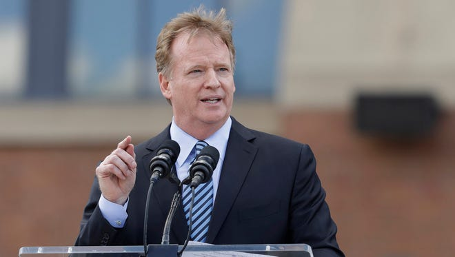 NFL commissioner Roger Goodell speaks during the unveiling of a Peyton Manning statue outside of Lucas Oil Stadium, Saturday, Oct. 7, 2017, in Indianapolis. (AP Photo/Darron Cummings)