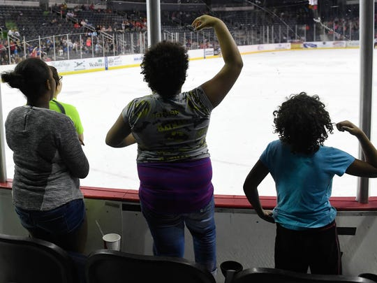 Students from Evans Elementary School show off their dance moves during the Evansville Thunderbolt's Education Day game against the Peoria Rivermen Wednesday, November 2, 2016.