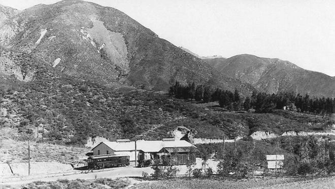 This 1912 photo, which Nestlé submitted to California officials, shows a factory where the company says some of the water was initially bottled. Arrowhead Springs was named after the arrowhead-shaped rock formation on the mountainside in the background.