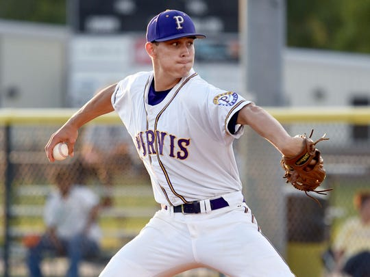 Purvis pitcher Jesse Johnson throws the ball in a home game against Poplarville on Tuesday, April 3, 2018.