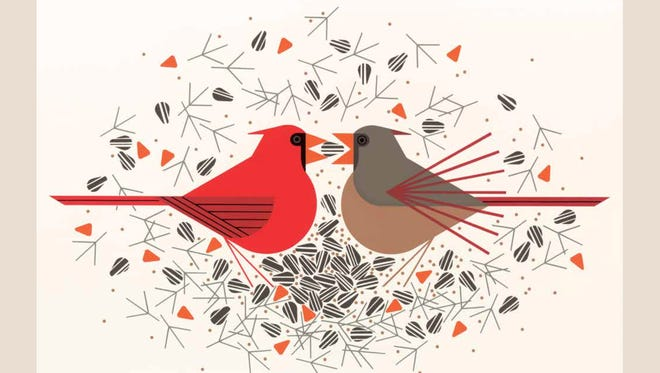 "The cover of the re-released version of Charley Harper's ""Beguiled by the Wild."""
