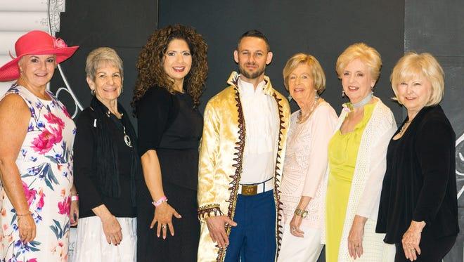 Event committee Bonnie Tucker, Jackie Hagan, program chair Gloria Franz, (Prince) James Gray, Harriet Hanson, GG Hanson and Andrea Paris.