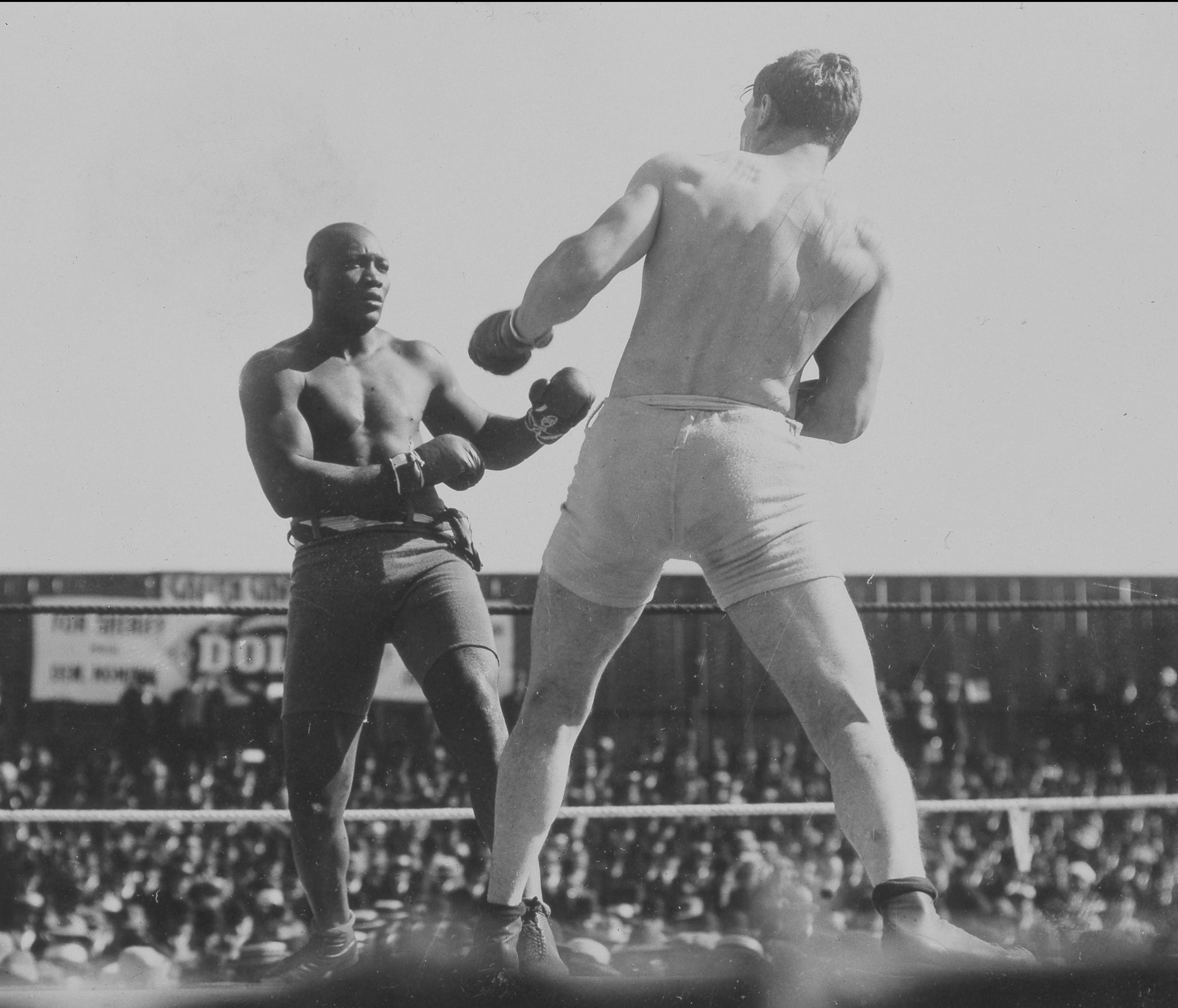 World heavyweight champion Jack Johnson battles with challenger Al Kaufmann — the latest in a string of