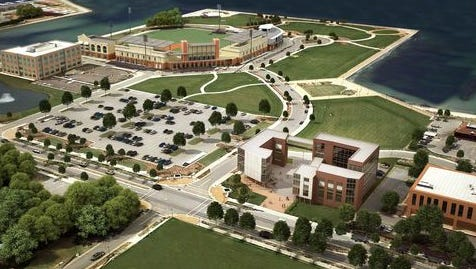 Quint Studer presented renderings for possible projects on parcels 3, 6 and 9 of Community Maritime Park during a City Council workshop Thursday.