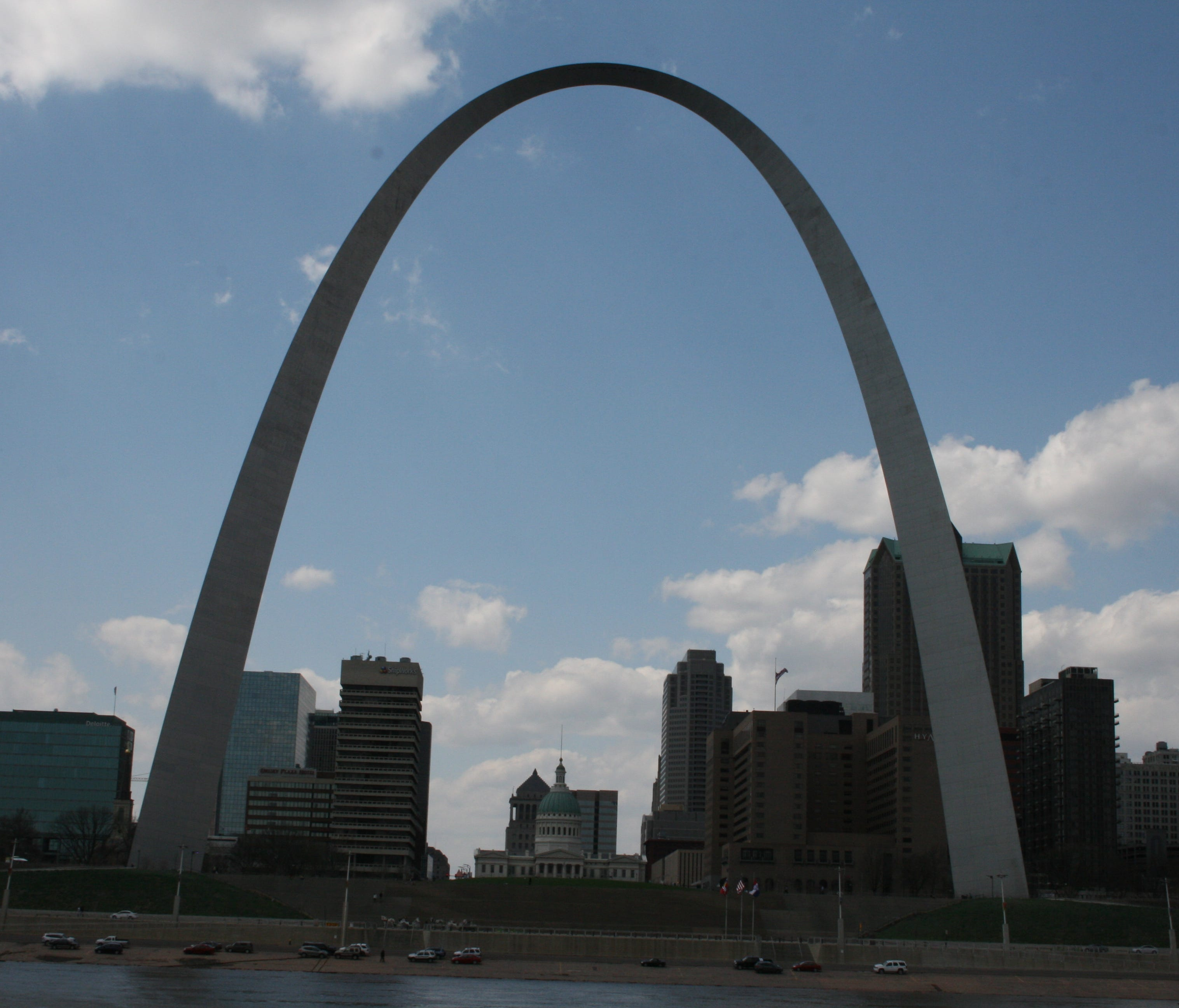 The Gateway Arch as seen from the Mississippi River.